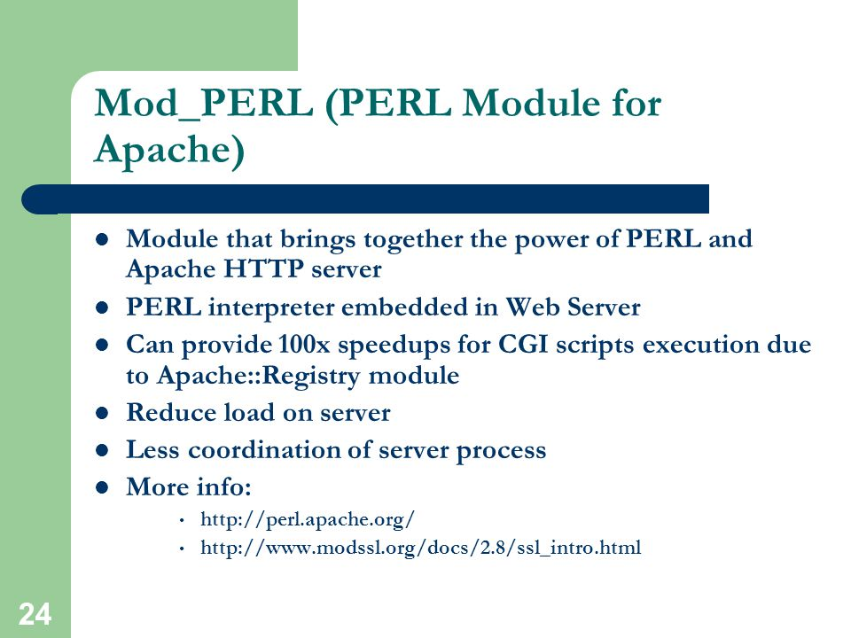 23 PERL (Practical Extraction and Report Language) More Example of PERL CGI Scripts:     Drawback: Security Easy manipulation of code for hackers