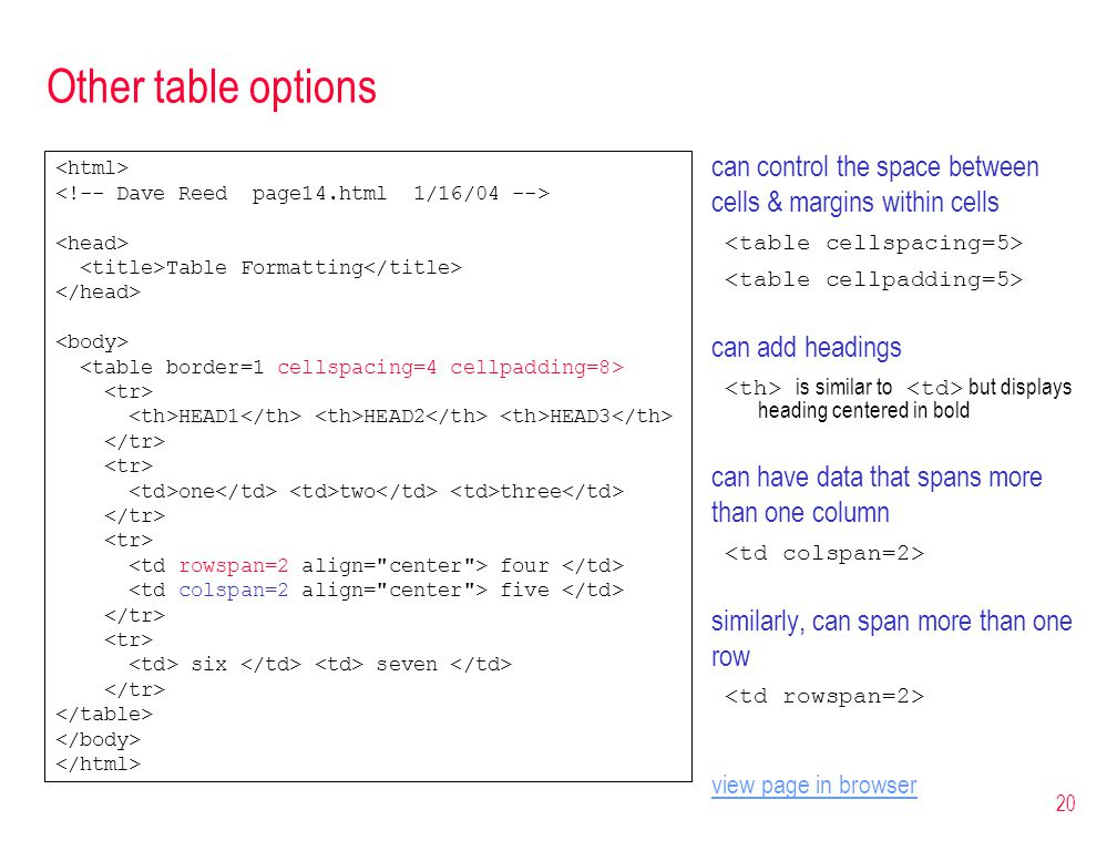 20 Other table options can control the space between cells & margins within cells can add headings is similar to but displays heading centered in bold