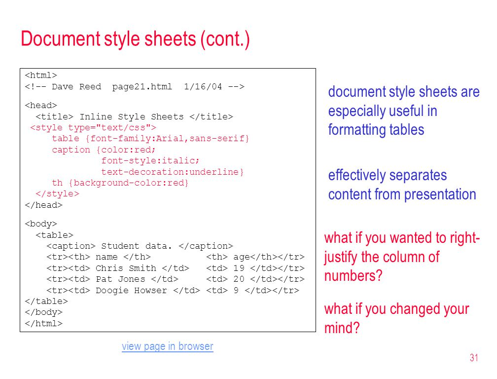 31 Document style sheets (cont.) document style sheets are especially useful in formatting tables effectively separates content from presentation Inli