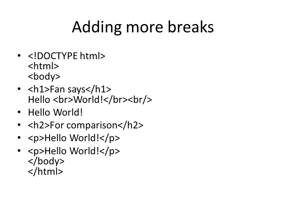 Adding more breaks Fan says Hello World! Hello World! For comparison Hello World!