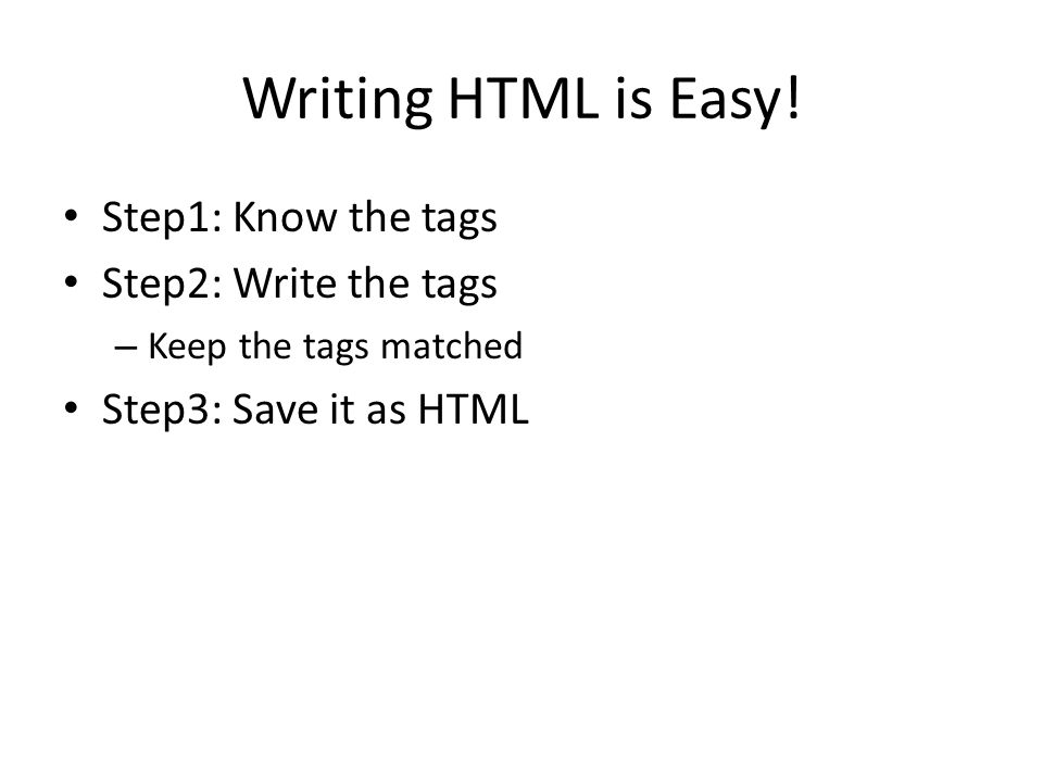 Writing HTML is Easy.