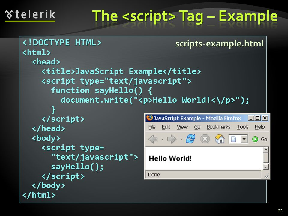 32 <html> JavaScript Example JavaScript Example function sayHello() { function sayHello() { document.write( Hello World.
