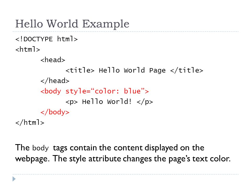 Hello World Example Hello World Page Hello World.