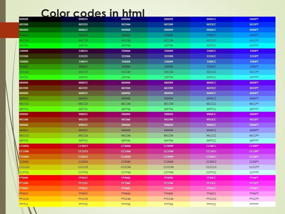 Color codes in html 0000000000330000660000990000CC0000FF 0033000033330033660033990033CC0033FF 0066000066330066660066990066CC0066FF 0099000099330099660