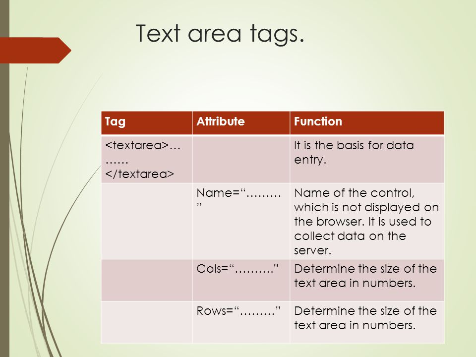 """Text area tags. TagAttributeFunction … …… It is the basis for data entry. Name=""""……… """" Name of the control, which is not displayed on the browser. It i"""