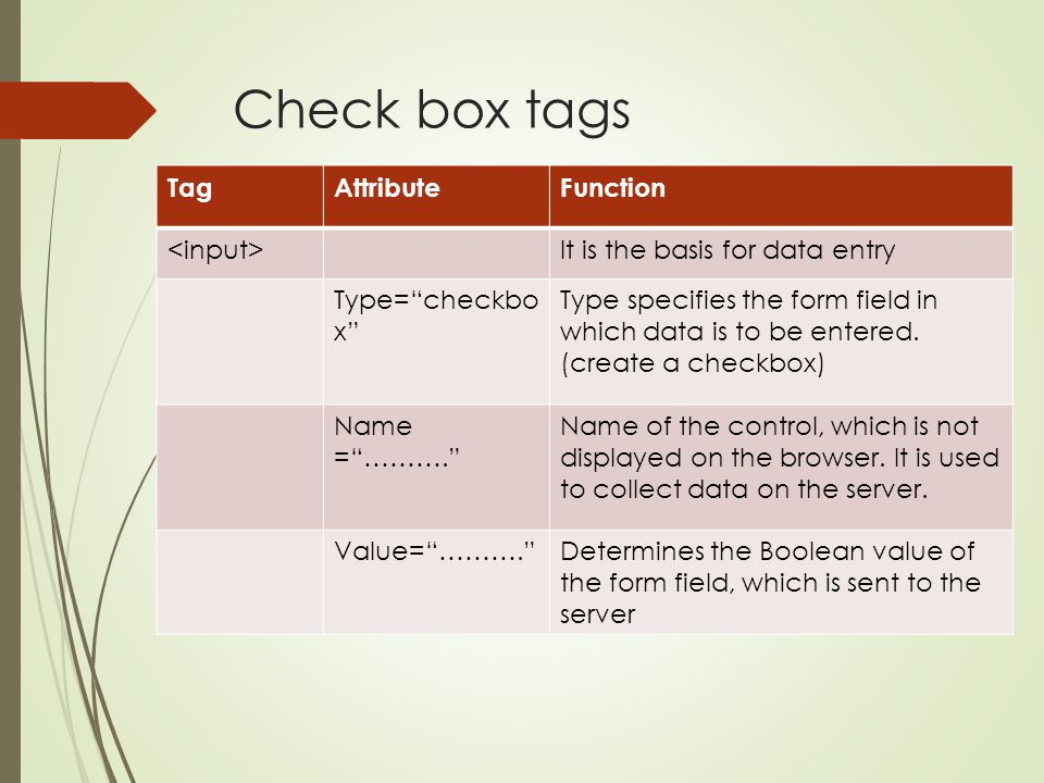 """Check box tags TagAttributeFunction It is the basis for data entry Type=""""checkbo x"""" Type specifies the form field in which data is to be entered. (cre"""