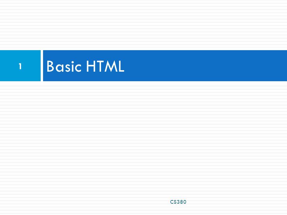 Basic HTML CS380 1