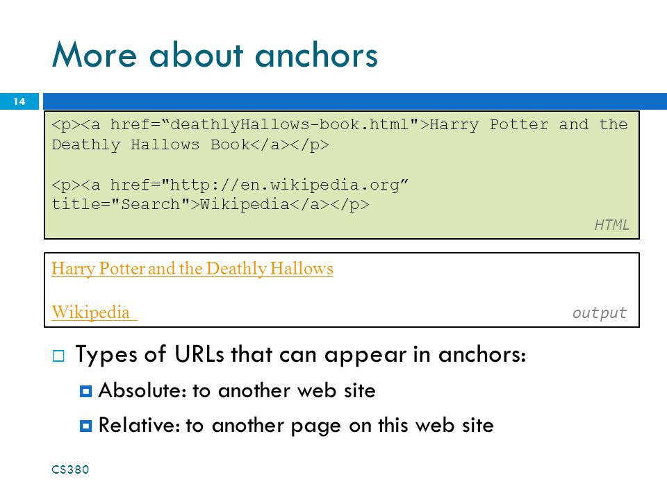 More about anchors  Types of URLs that can appear in anchors:  Absolute: to another web site  Relative: to another page on this web site CS380 14 Harry Potter and the Deathly Hallows Book <a href= http://en.wikipedia.org title= Search >Wikipedia HTML Harry Potter and the Deathly Hallows Wikipedia Wikipedia output