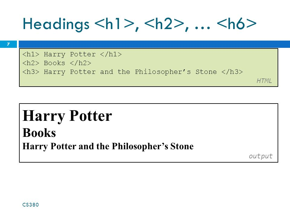 Headings,, … CS380 7 Harry Potter Books Harry Potter and the Philosopher's Stone HTML Harry Potter Books Harry Potter and the Philosopher's Stone output