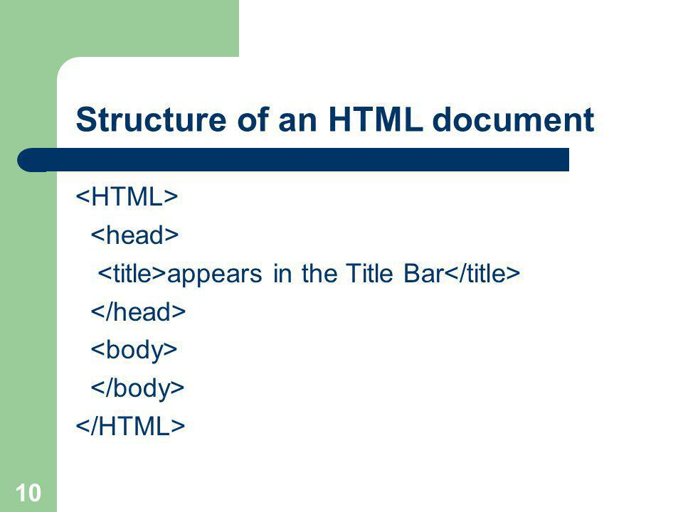 10 Structure of an HTML document appears in the Title Bar