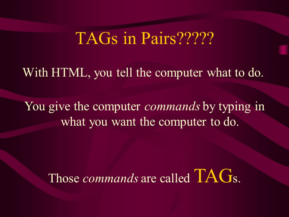 What does HTML look like. Title goes here Body goes here HTML is cool.