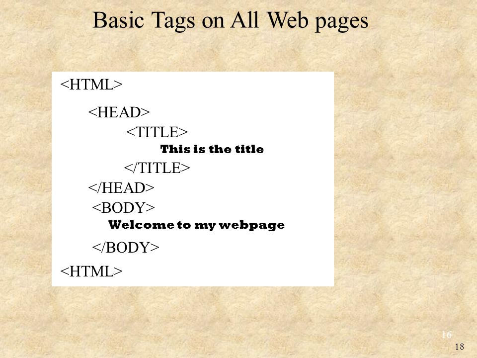 18 Basic Tags on All Web pages 16 This is the title Welcome to my webpage