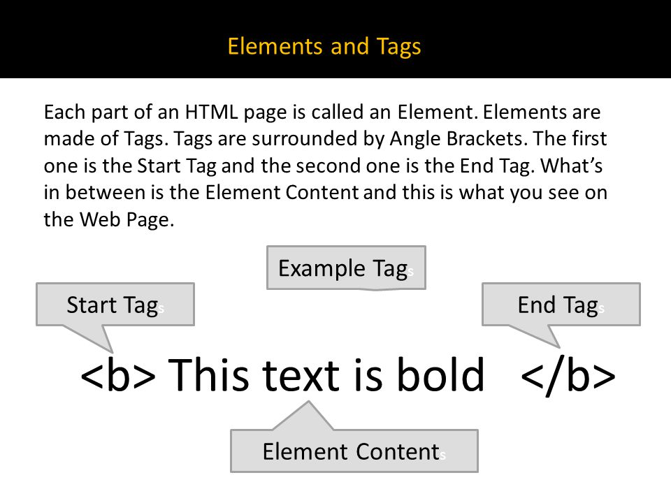 This text is bold Elements and Tags Each part of an HTML page is called an Element.