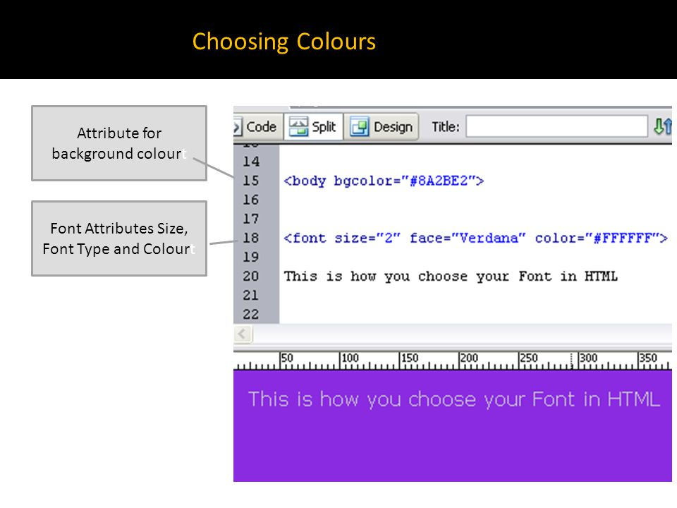 Choosing Colours Attribute for background colourt Font Attributes Size, Font Type and Colourt