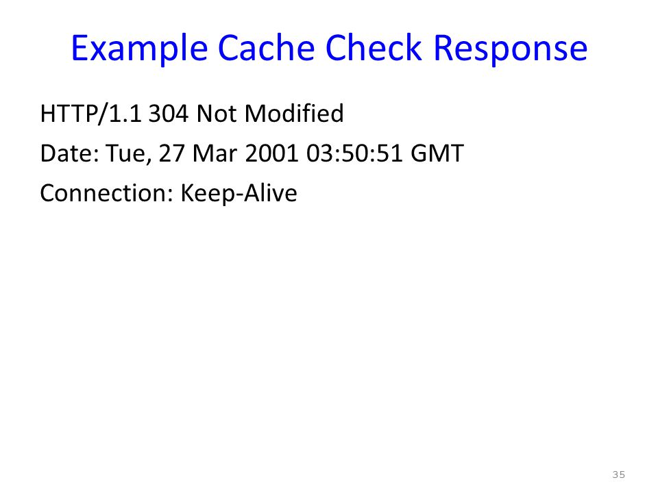 Example Cache Check Response HTTP/1.1 304 Not Modified Date: Tue, 27 Mar 2001 03:50:51 GMT Connection: Keep-Alive 35