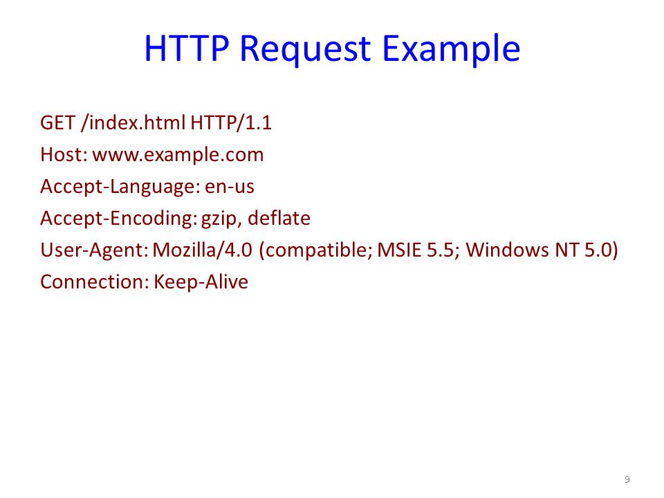 HTTP Request Example GET /index.html HTTP/1.1 Host: www.example.com Accept-Language: en-us Accept-Encoding: gzip, deflate User-Agent: Mozilla/4.0 (compatible; MSIE 5.5; Windows NT 5.0) Connection: Keep-Alive 9