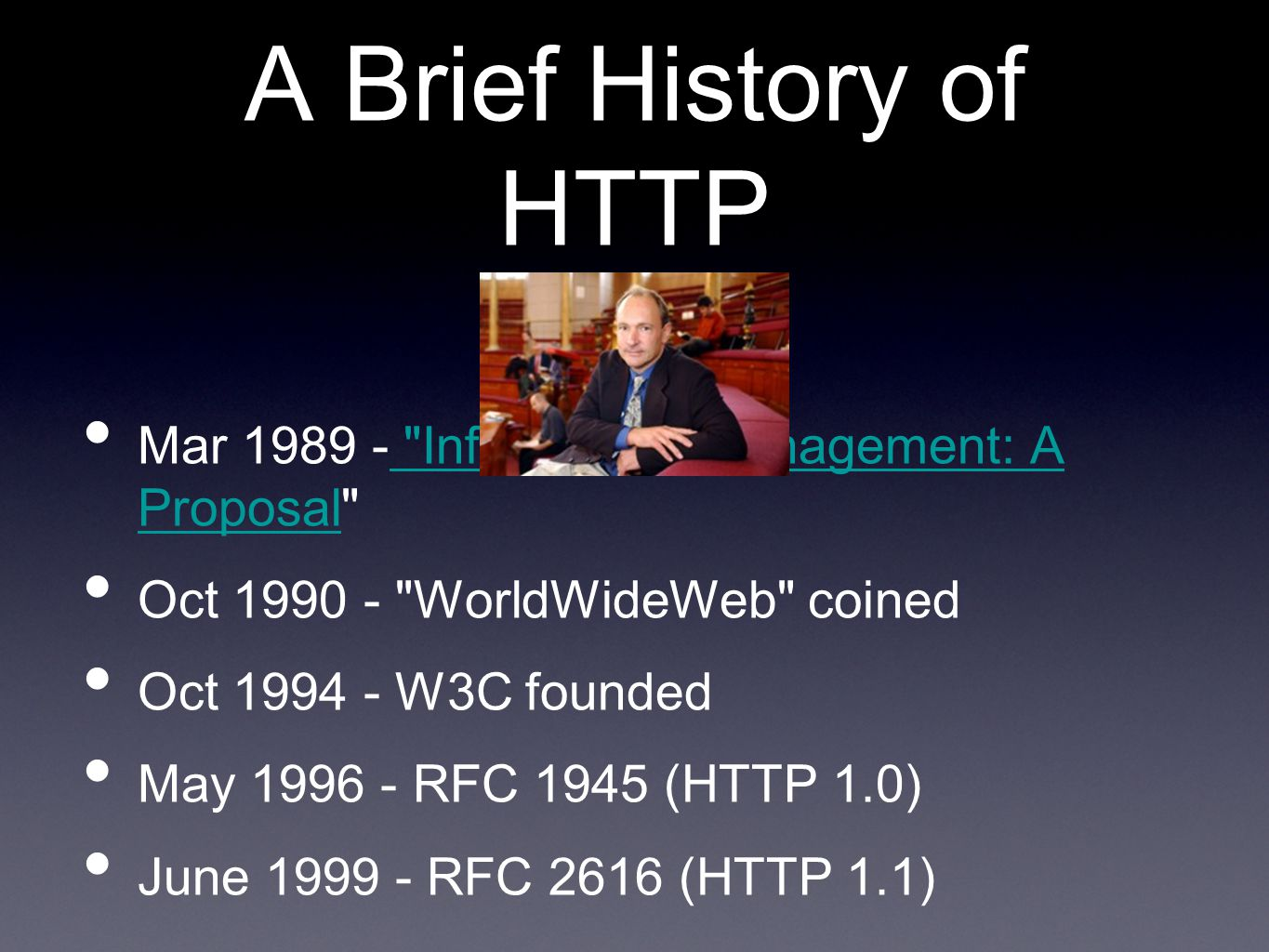 A Brief History of HTTP Mar 1989 -