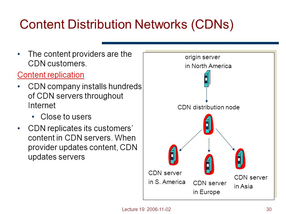 Lecture 19: 2006-11-0230 Content Distribution Networks (CDNs) The content providers are the CDN customers.