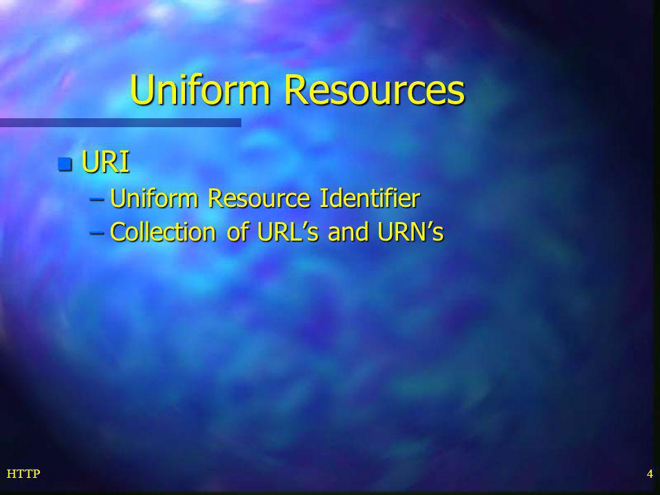 HTTP4 Uniform Resources n URI –Uniform Resource Identifier –Collection of URL's and URN's