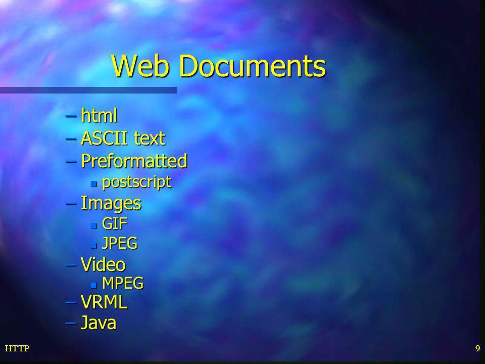HTTP9 Web Documents –html –ASCII text –Preformatted n postscript –Images n GIF n JPEG –Video n MPEG –VRML –Java
