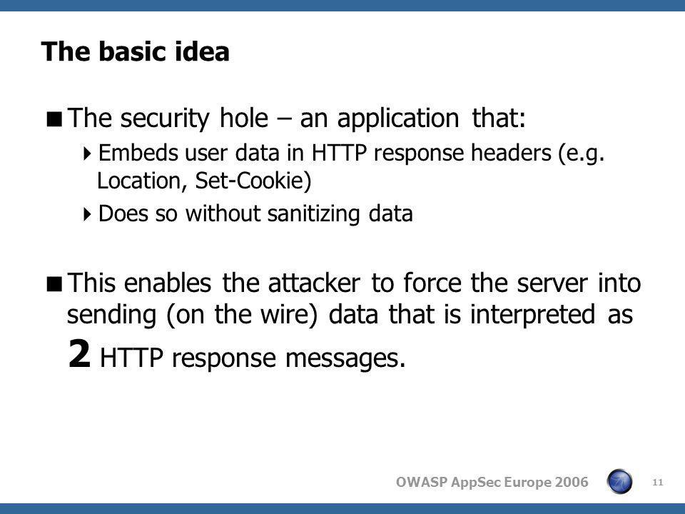 OWASP AppSec Europe 2006 11 The basic idea  The security hole – an application that:  Embeds user data in HTTP response headers (e.g. Location, Set-
