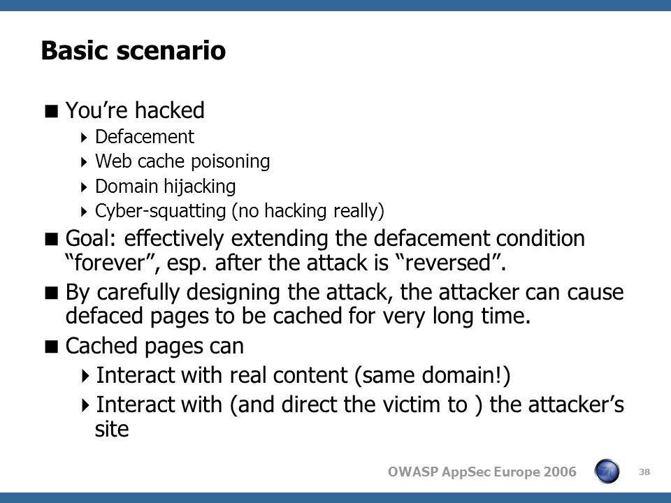 OWASP AppSec Europe 2006 38 Basic scenario  You're hacked  Defacement  Web cache poisoning  Domain hijacking  Cyber-squatting (no hacking really)