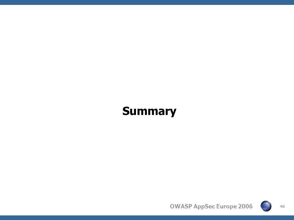 OWASP AppSec Europe 2006 46 Summary