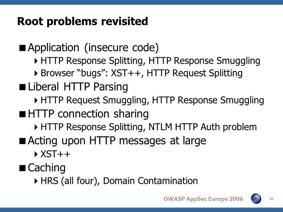 "OWASP AppSec Europe 2006 47 Root problems revisited  Application (insecure code)  HTTP Response Splitting, HTTP Response Smuggling  Browser ""bugs"":"