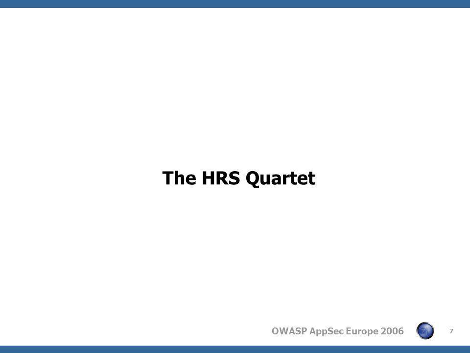 OWASP AppSec Europe 2006 7 The HRS Quartet