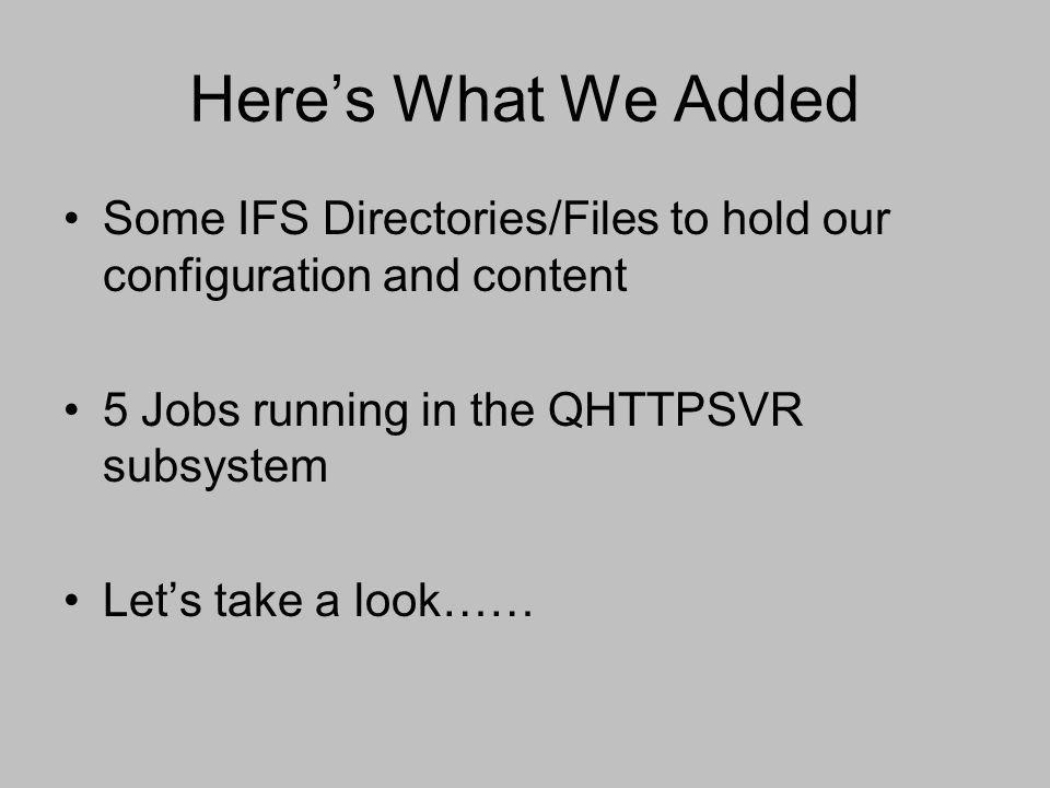 Here's What We Added Some IFS Directories/Files to hold our configuration and content 5 Jobs running in the QHTTPSVR subsystem Let's take a look……