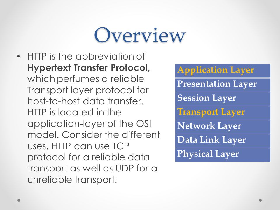Overview HTTP is the abbreviation of Hypertext Transfer Protocol, which perfumes a reliable Transport layer protocol for host-to-host data transfer.