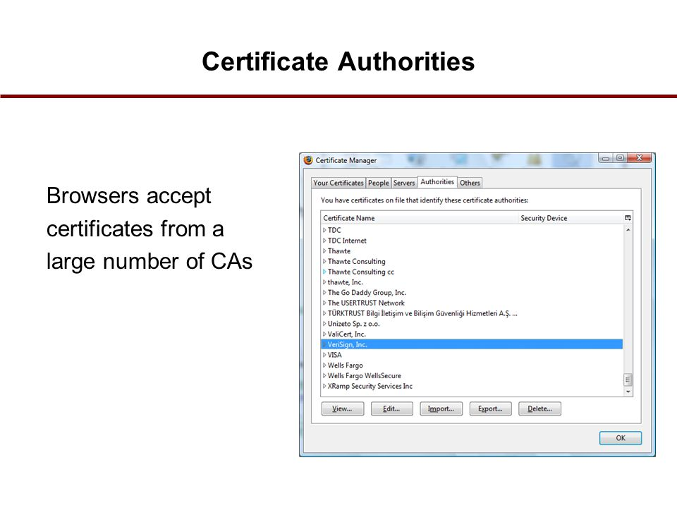 Certificate Authorities Browsers accept certificates from a large number of CAs