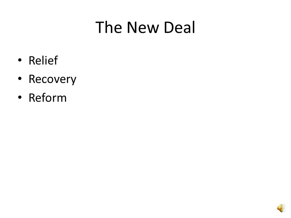 The New Deal Relief Recovery Reform