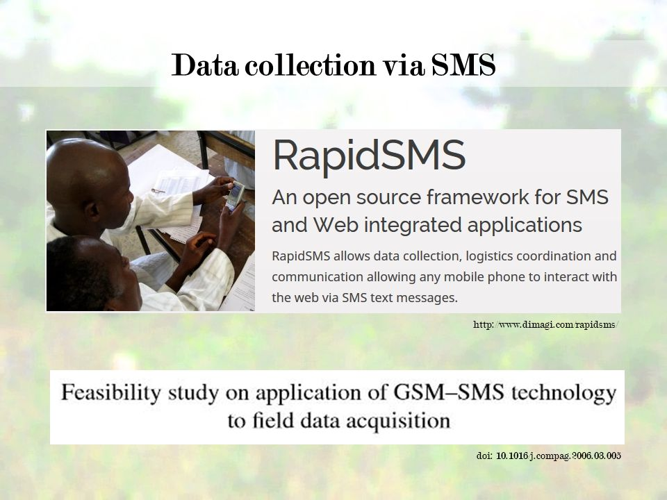 doi: /j.compag Data collection via SMS