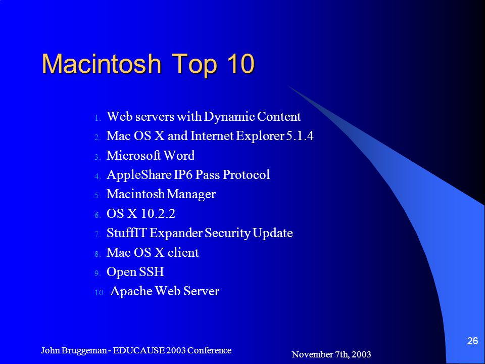 November 7th, 2003 John Bruggeman - EDUCAUSE 2003 Conference 26 Macintosh Top 10 1.