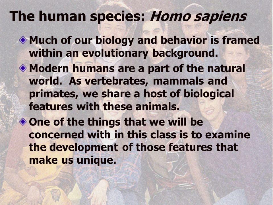 The human species: Homo sapiens Much of our biology and behavior is framed within an evolutionary background.