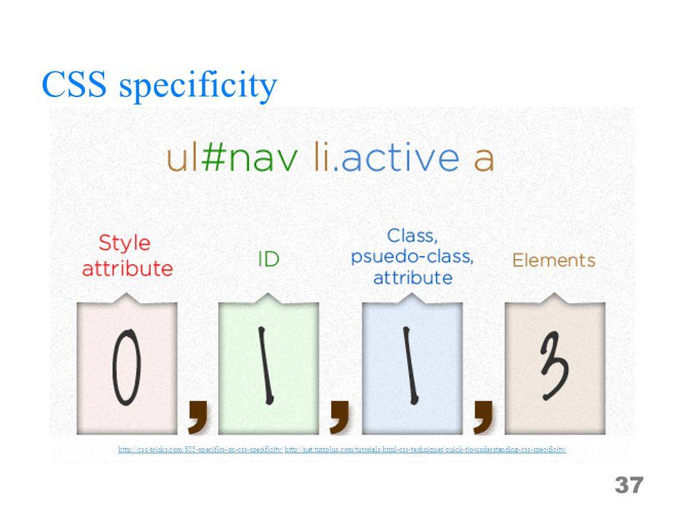 CSS specificity 37 http://css-tricks.com/855-specifics-on-css-specificity/http://css-tricks.com/855-specifics-on-css-specificity/ http://net.tutsplus.