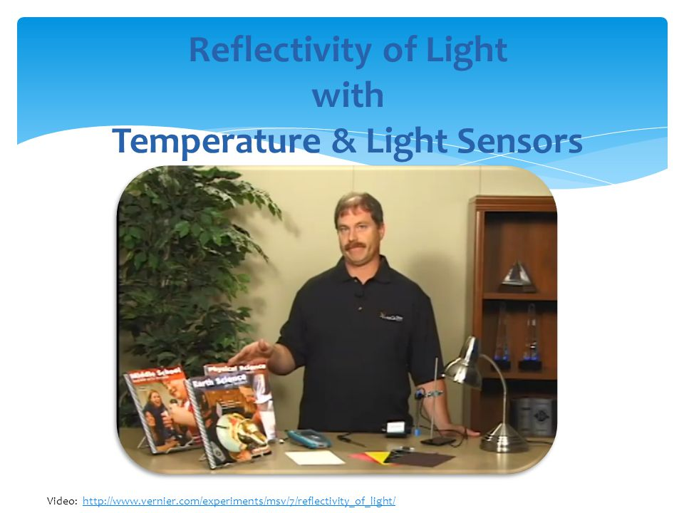 Reflectivity of Light with Temperature & Light Sensors Video: http://www.vernier.com/experiments/msv/7/reflectivity_of_light/http://www.vernier.com/experiments/msv/7/reflectivity_of_light/