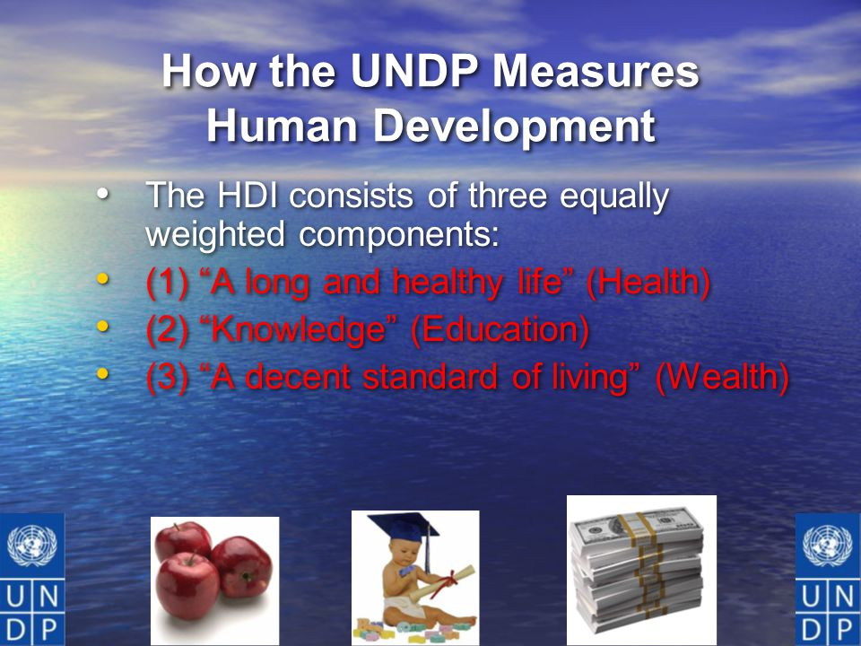 How the UNDP Measures Human Development The HDI consists of three equally weighted components: (1) A long and healthy life (Health) (2) Knowledge (Education) (3) A decent standard of living (Wealth) The HDI consists of three equally weighted components: (1) A long and healthy life (Health) (2) Knowledge (Education) (3) A decent standard of living (Wealth)