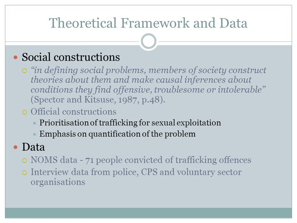 Theoretical Framework and Data Social constructions  in defining social problems, members of society construct theories about them and make causal inferences about conditions they find offensive, troublesome or intolerable (Spector and Kitsuse, 1987, p.48).