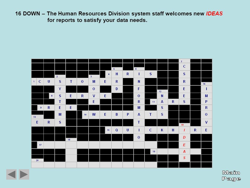 16 DOWN – The Human Resources Division system staff welcomes new IDEAS for reports to satisfy your data needs.