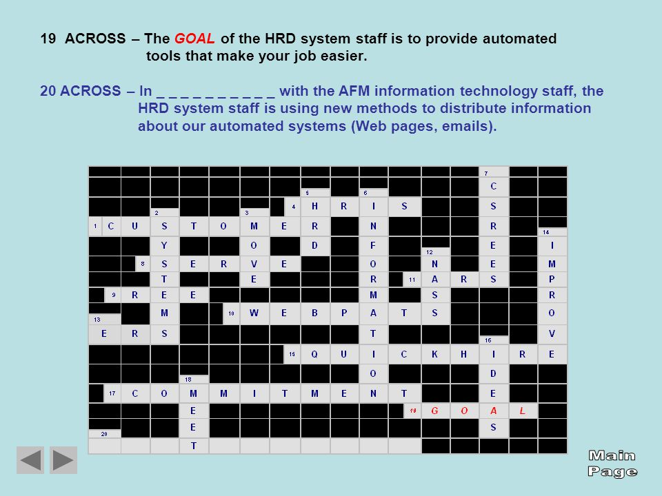 19 ACROSS – The GOAL of the HRD system staff is to provide automated tools that make your job easier.