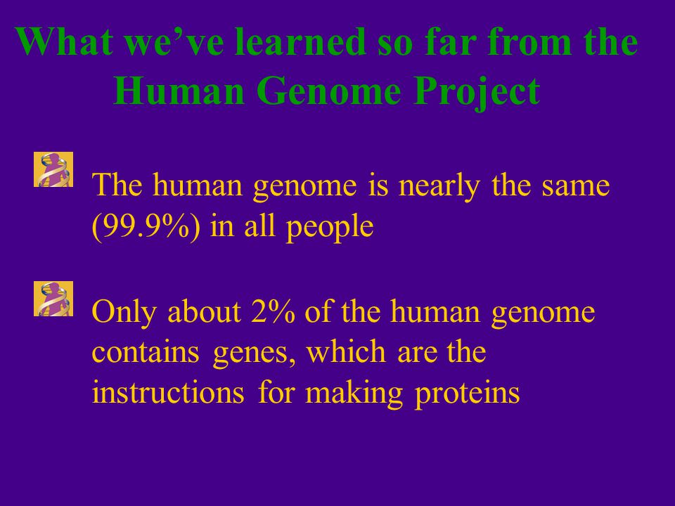 Humans have an estimated 30,000 genes; the functions of more than half of them are unknown Almost half of all human proteins share similarities with other organisms, underscoring the unity of live Other Lessons from the Human Genome Project