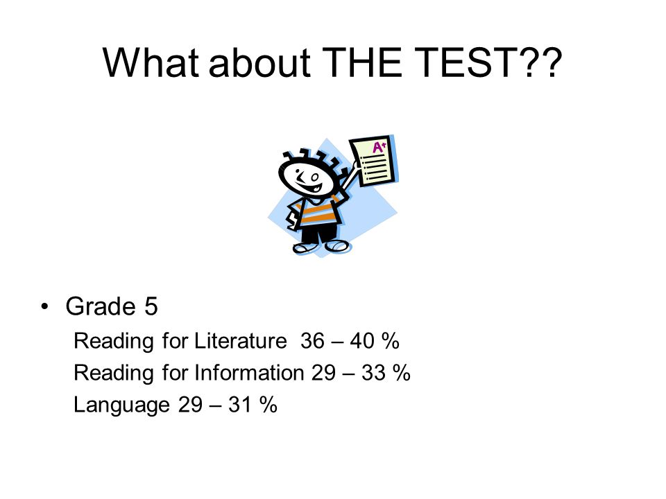 What about THE TEST?? Grade 5 Reading for Literature 36 – 40 % Reading for Information 29 – 33 % Language 29 – 31 %