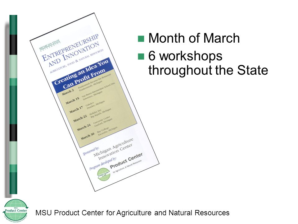 MSU Product Center for Agriculture and Natural Resources Month of March 6 workshops throughout the State