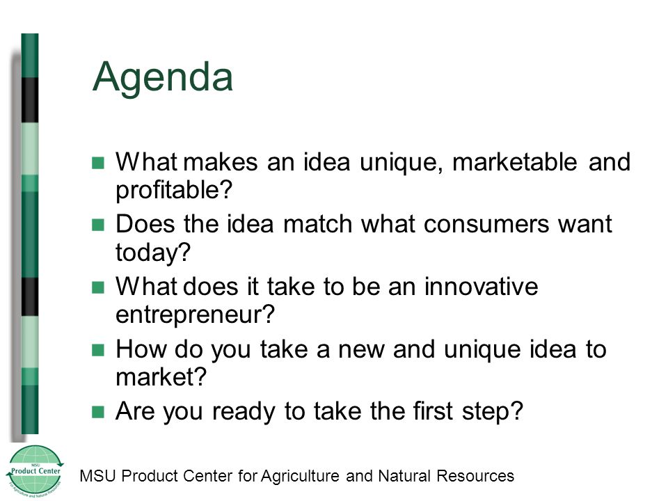 MSU Product Center for Agriculture and Natural Resources Agenda What makes an idea unique, marketable and profitable.