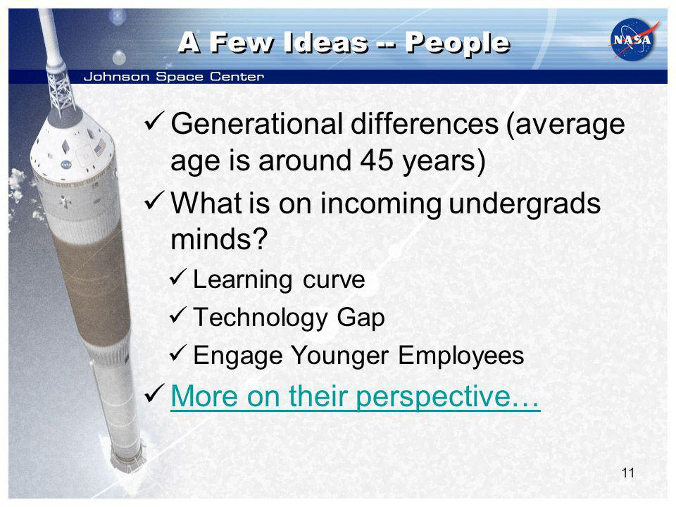 11 A Few Ideas -- People Generational differences (average age is around 45 years) What is on incoming undergrads minds.