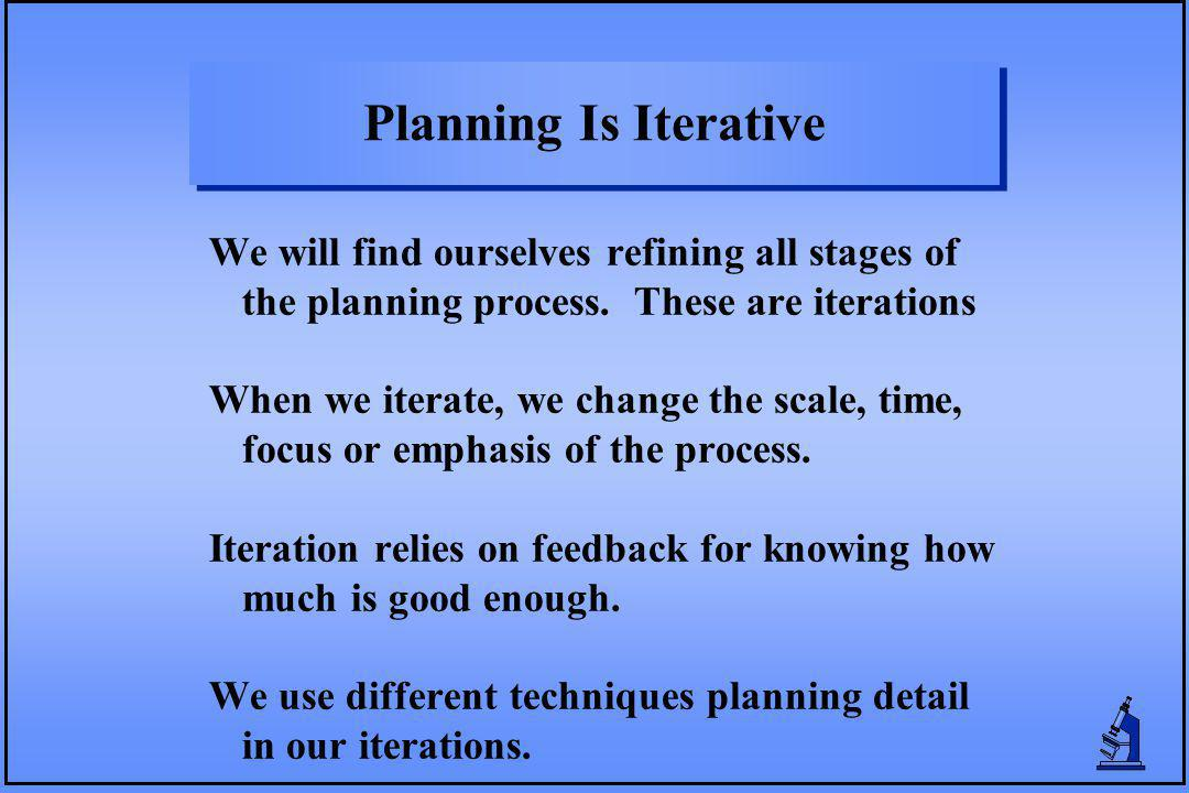 Planning Is Iterative We will find ourselves refining all stages of the planning process. These are iterations When we iterate, we change the scale, t
