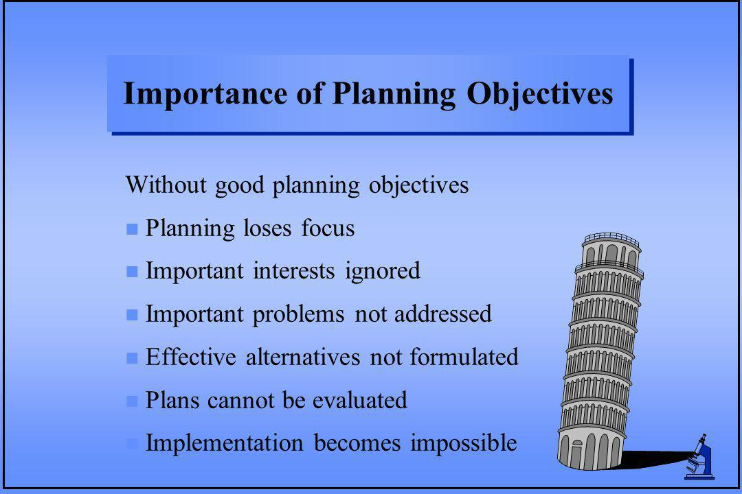 Importance of Planning Objectives Without good planning objectives n Planning loses focus n Important interests ignored n Important problems not addre