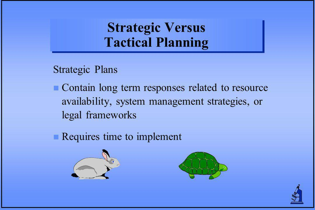 n Contain long term responses related to resource availability, system management strategies, or legal frameworks n Requires time to implement Strategic Plans Strategic Versus Tactical Planning